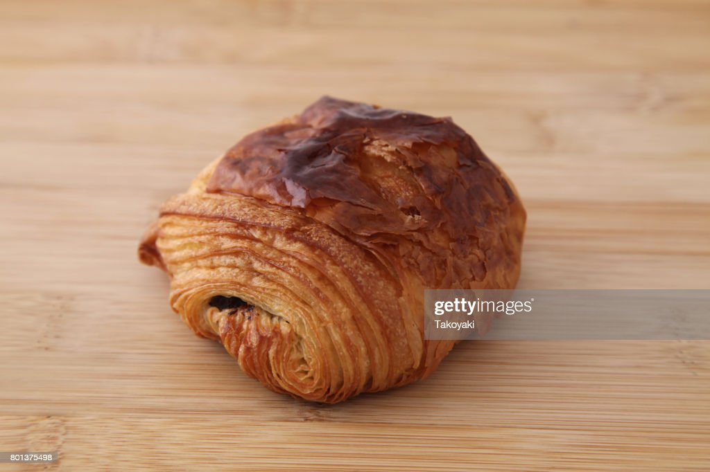 French Bread Pain Au Chocolat Chocolate Croissant On Wood