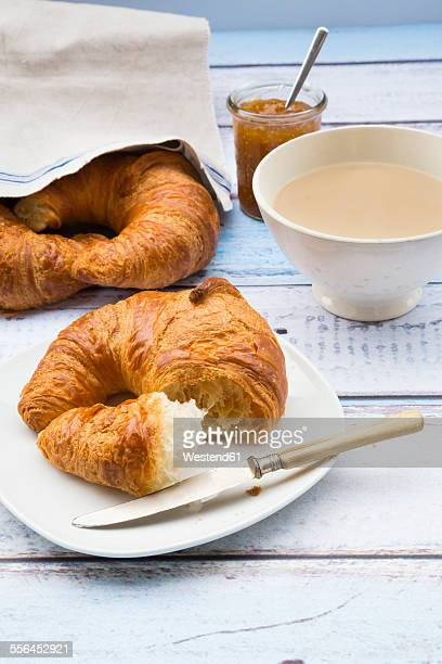 French breakfast with croissant, Cafe au lait and fig jam