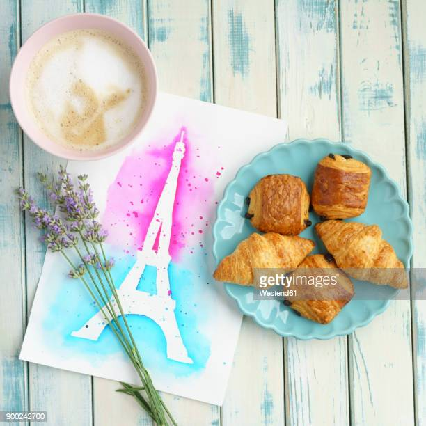 French brekfast with Chocolate Croissants and Cappuccino