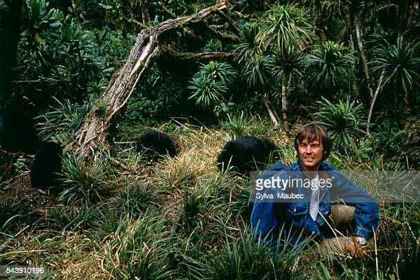 French broadcaster Nicolas Hulot on the set of his television program Ushuaia about Dian Fossey and her gorillas
