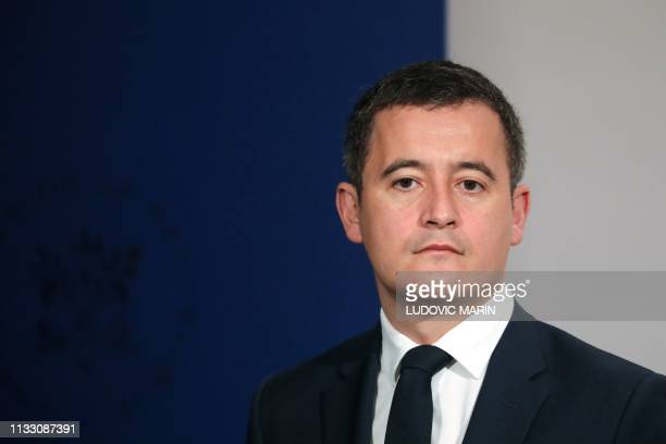 French Budget Minister Gerald Darmanin attends a press conference following the weekly cabinet meeting at the Elysee presidential palace in Paris on...