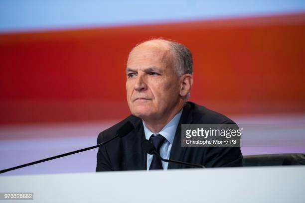 French building materials giant SaintGobain Chairman and Chief Executive Officer Pierre Andre de Chalendar listens the group's general meeting on...