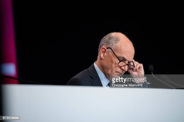 French building materials giant SaintGobain Chairman and Chief Executive Officer Pierre Andre de Chalendar listens during the group's general meeting...