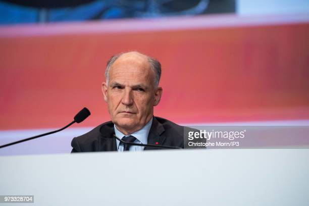 French building materials giant SaintGobain Chairman and Chief Executive Officer Pierre Andre de Chalendar listnes during the group's general meeting...