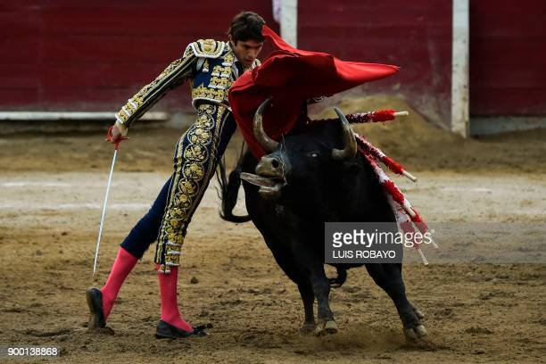 French bullfighter Sebastian Castella performs during a bullfight at the Canaveralejo bullring in Cali department of Valle del Cauca Colombia on...