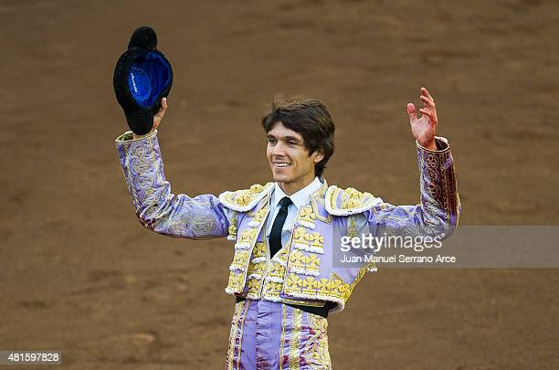 French bullfighter Sebastian Castella performs during a bullfighting as part of the Feria Santiago in a bullfight on July 22 2015 in Santander Spain