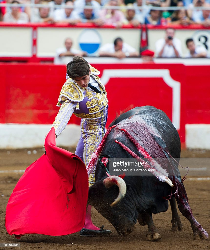 French bullfighter Sebastian Castella performs during a bullfighting as part of the Feria Santiago in a bullfight on July 22, 2015 in Santander, Spain.