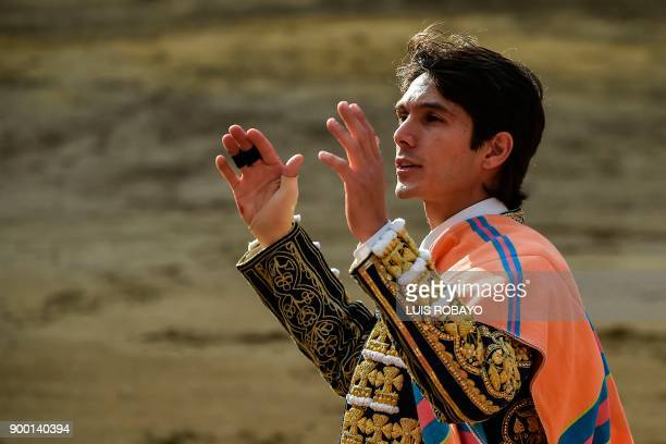 French bullfighter Sebastian Castella waves during a bullfight at the Canaveralejo bullring in Cali department of Valle del Cauca Colombia on...