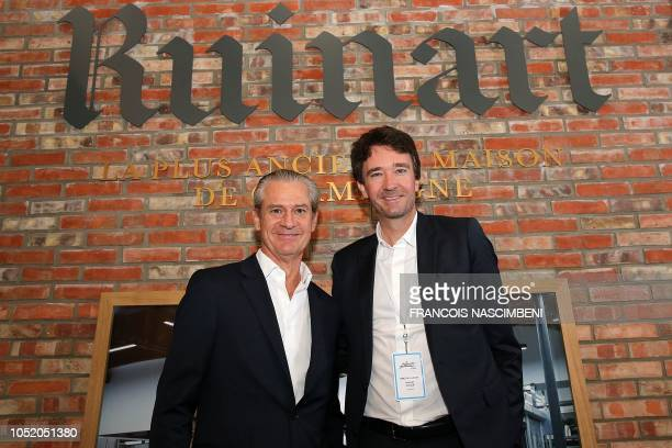 French business man and Bernard Arnault's son Antoine Arnault and French president of Ruinart House Frederic Dufour pose at the Ruinart House in...
