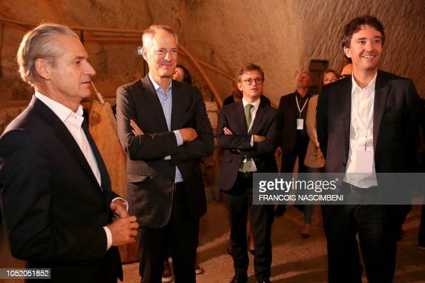 French business man and Bernard Arnault's son Antoine Arnault French president of Ruinart House Frederic Dufour and CEO of Moet Hennessy Philippe...