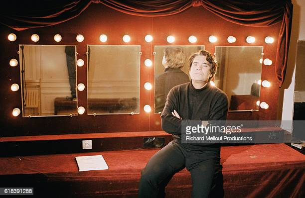 French businessman and politician Bernard Tapie sits in the dressing room at the Theatre de Paris He is staring in a stage version of the Ken Kesey...