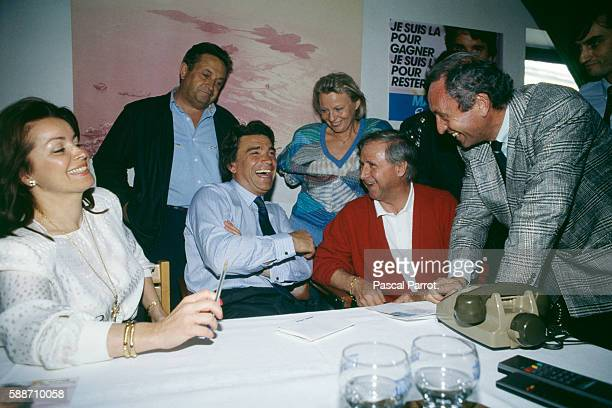 French businessman and politician Bernard Tapie with wife Dominique pundit and adman Jacques Seguala and former football player and manager Michel...