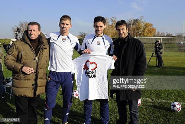 French businessman and president of Les prisons du coeur association Pierre Botton Lyon' substitute goalkeeper Jeremy Frick international French...