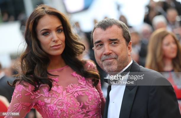 French businessman Arnaud Lagardere and his wife Jade Foret arrive on May 24 2017 for the screening of the film 'The Beguiled' at the 70th edition of...