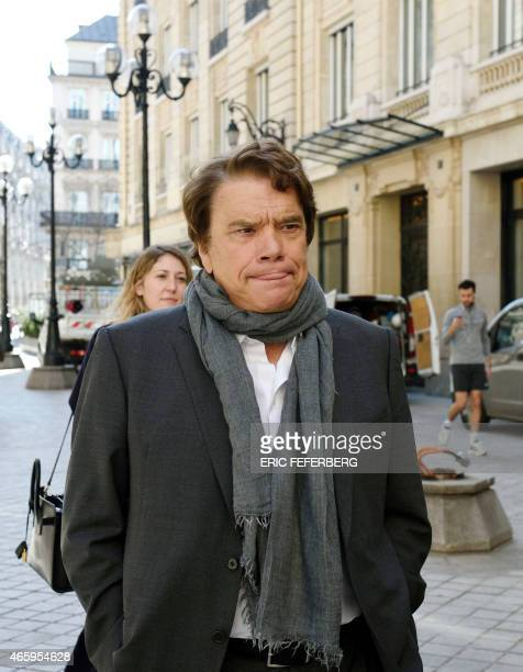 French businessman Bernard Tapie arrives for a hearing at the financial pole on March 12 2015 The Paris Court of Appeal last February struck out the...