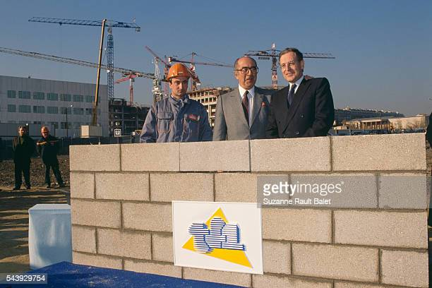 French businessman Francis Bouygues and journalist and President of TF1 Patrick Le Lay at the construction site of the new TF1 headquarters in...