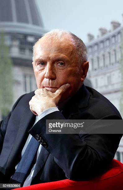 French businessman Francois Pinault attends the presentation of the project to install his art collection at the Paris Commercial Exchange on April...