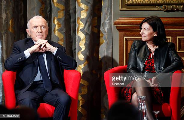 French businessman Francois Pinault next to Paris mayor Anne Hidalgo attends the presentation of the project to install his art collection at the...