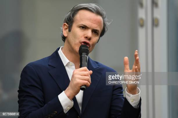 French businessman Guillaume Houze head of the French department store chain Galeries Lafayette's corporate foundation delivers a speech during the...