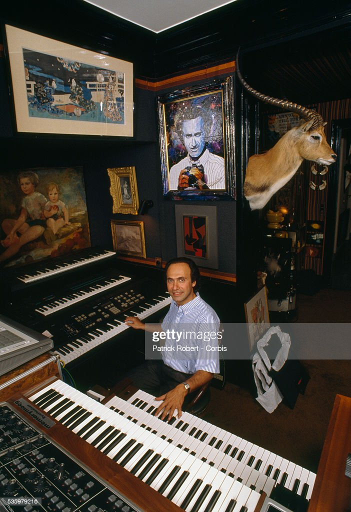 French businessman, politician, and composer Olivier Dassault plays keyboards in his music room at home. Dassault, who owns Dassault Falcon Service, is the grandson of Marcel Dassault, the legendary aviation engineer and manufacturer.