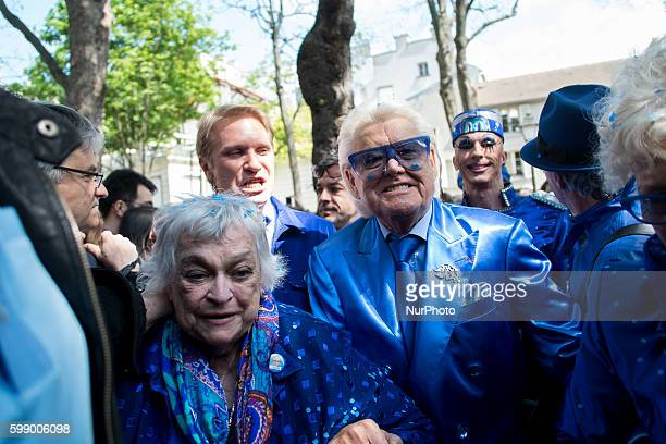 French cabaret director Michel Georges Alfred Catty aka Michou arrival in the Michou Day flashMob in Paris with a blue dresscode on April 19 2014...