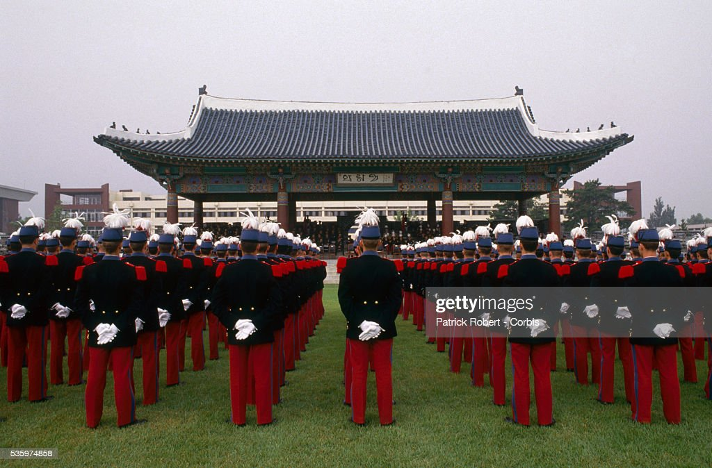 French cadets from Ecole Speciale Militaire de Saint-Cyr, or the St.-Cyr Military Academy, stand in formation during a visit to the Korea Military Academy in Seoul.