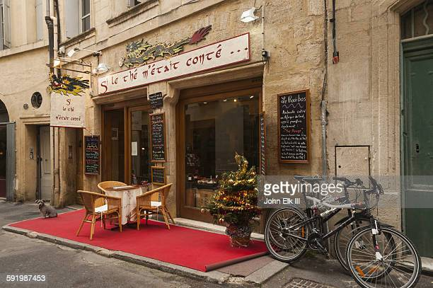 French cafe storefront