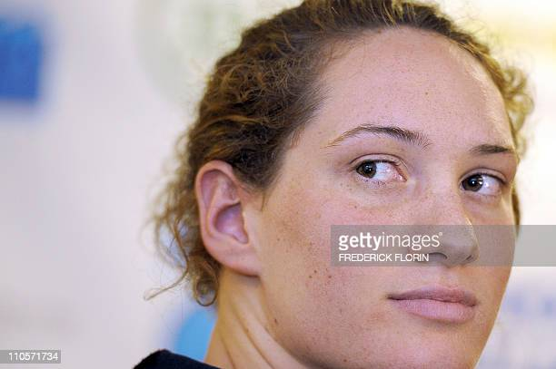 7751ae0479e3 French Camille Muffat answers journalists during a press conference in  Strasbourg before the French championship of