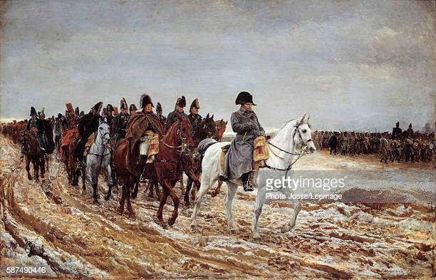 French Campaign,1814. Napoleon I followed by Marshals Michel Ney and Berthier, Generals Drouot, Gaspard, Gourgaud and de Flahaut. Painting by Jean...