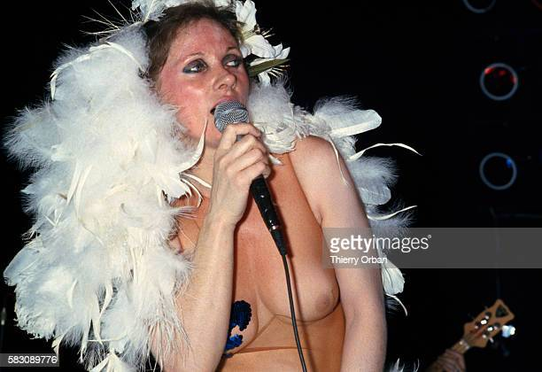 French Canadian singer Diane Dufresne performs at the nightclub Le Palace in Paris