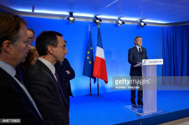 French Candidate for the Rightwing 'Les Republicains' Party Francois Fillon gives a press conference to confirm he remains a candidate for the French...
