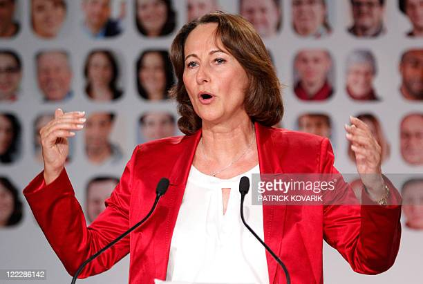 French candidate for the socialist nomination for next year's presidential vote and former presidential contender Segolene Royal gives a speech...