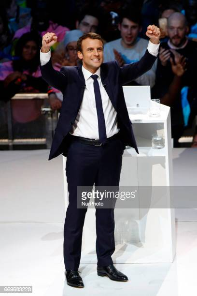 French candidate of En Marche Emmanuel Macron delivers a speech during his last rally campaign before the first round of 2017 French Presidential...