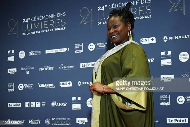 French Caneroonian MariePhilomene Nga poses upon her arrival at the 24th Lumieres Awards ceremony at the Institut du Monde Arabe in Paris on February...