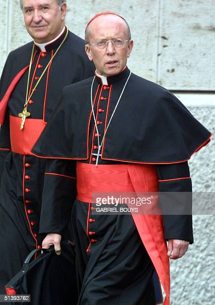 French Cardinal Louis-Marie Bille, bishop of Lyon, arrives at the Vatican 21 May 2001 for a rare special session of the so-called Sacred College of...