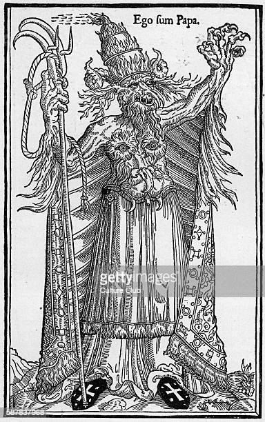 French caricature of Pope Alexander VI, 1 January 1431 - 18 August 1503. Caption: Ego sum Papa .