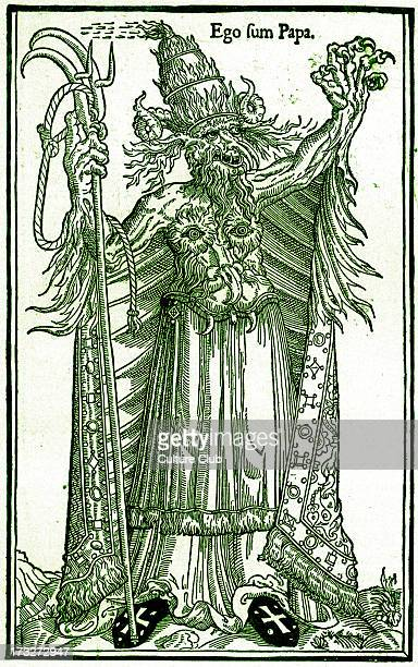 French caricature of Pope Alexander VI 1 January 1431 18 August 1583 Caption 'Ego sum Papa' Tinted version