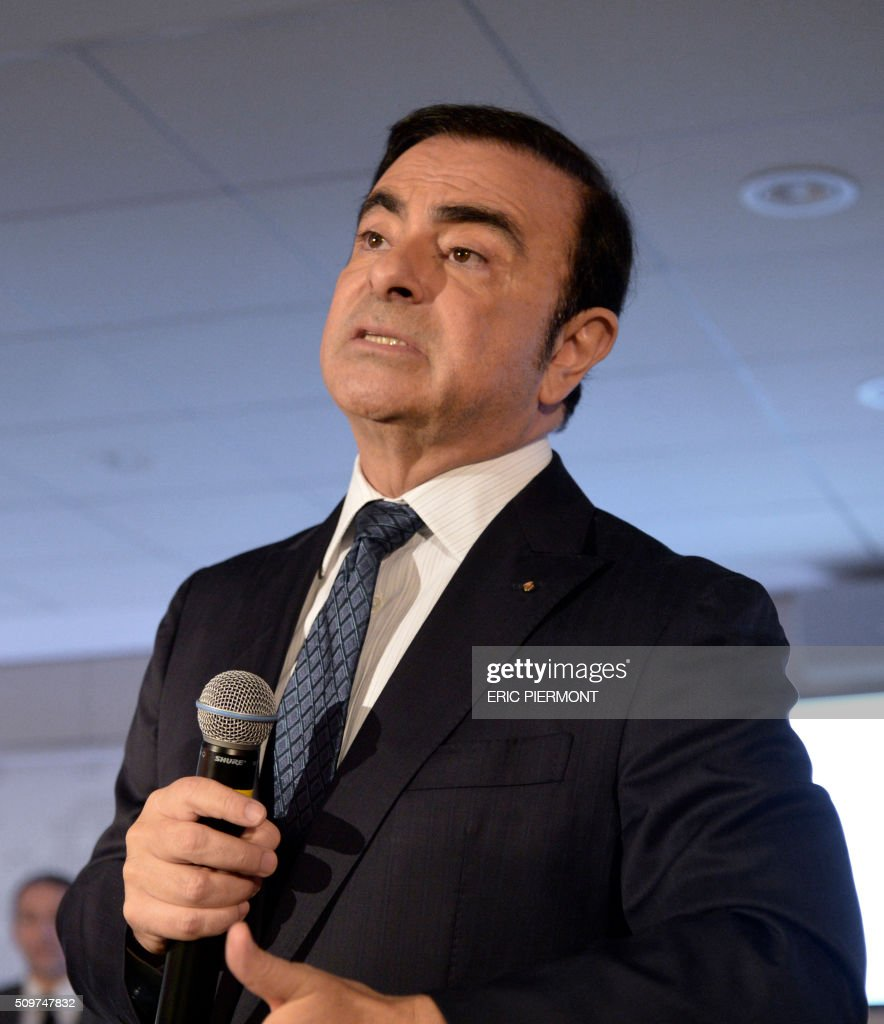 French carmaker Renault CEO Carlos Ghosn talks during the financial annual results presentation at the group headquarters in Boulogne-Billancourt, near Paris, on February 12, 2016. / AFP / ERIC