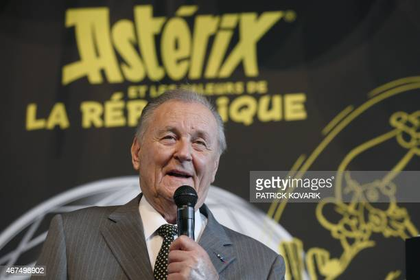 French cartoon artist Albert Uderzo speaks during a press conference at the Monnaie de Paris in Paris on March 25 2015 to present a new series of...