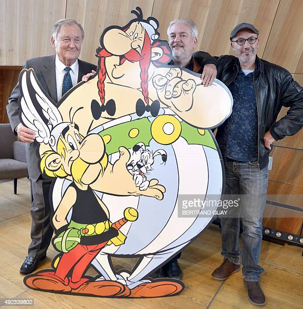 French cartoonist and author Albert Uderzo French cartoonist Didier Conrad and the coauthor of the popular comic book Asterix with Uderzo writer and...