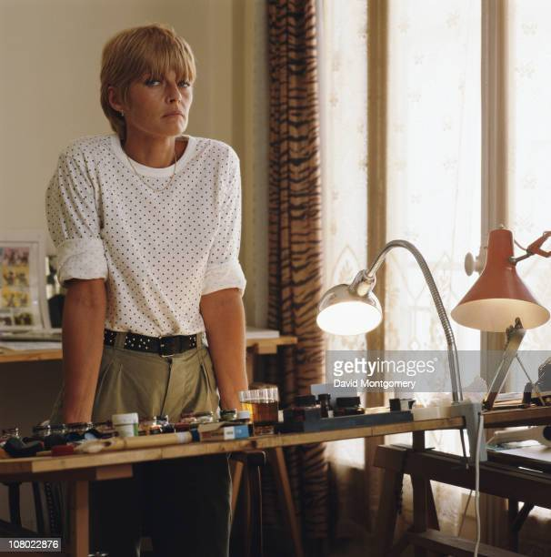 French cartoonist Claire Bretecher at her drawing board February 1981