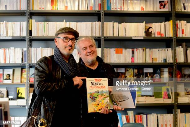 French cartoonist Didier Conrad and French writer and designer JeanYves Ferri during the presentation of the new comic strip Asterix e la Corsa d'...