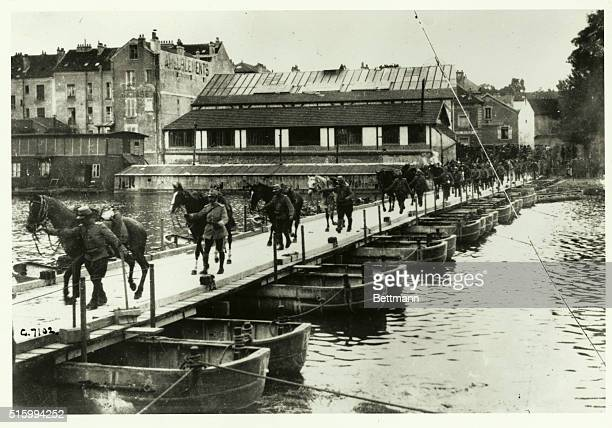 French Cavalry crossing one of the pontoon bridges built across the river Marne in less than three hours to facilitate the pursuit of the retreating...