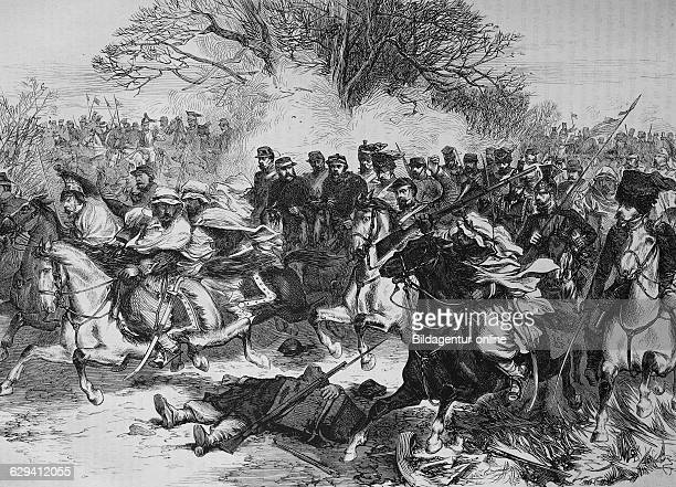 French cavalry retreating after the battle of orleans, illustrated war history, german - french war 1870-1871
