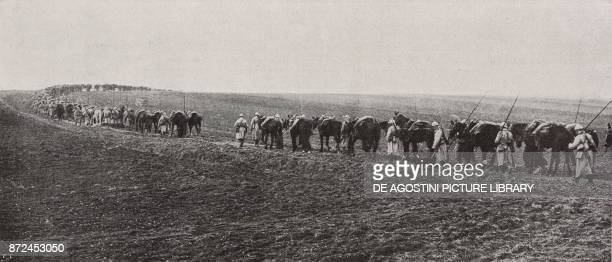 French Cavalry returning from a combat Picardy France Spring Offensive World War I from l'Illustrazione Italiana Year XLV No 18 May 5 1918