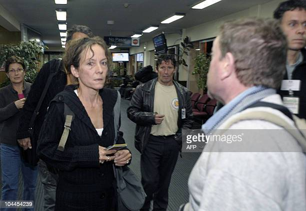 French Cecile Blanloeil mother of disappeared Jeremie Bellanger arrives to the international airport in El Alto Bolivia on September 25 2010 French...