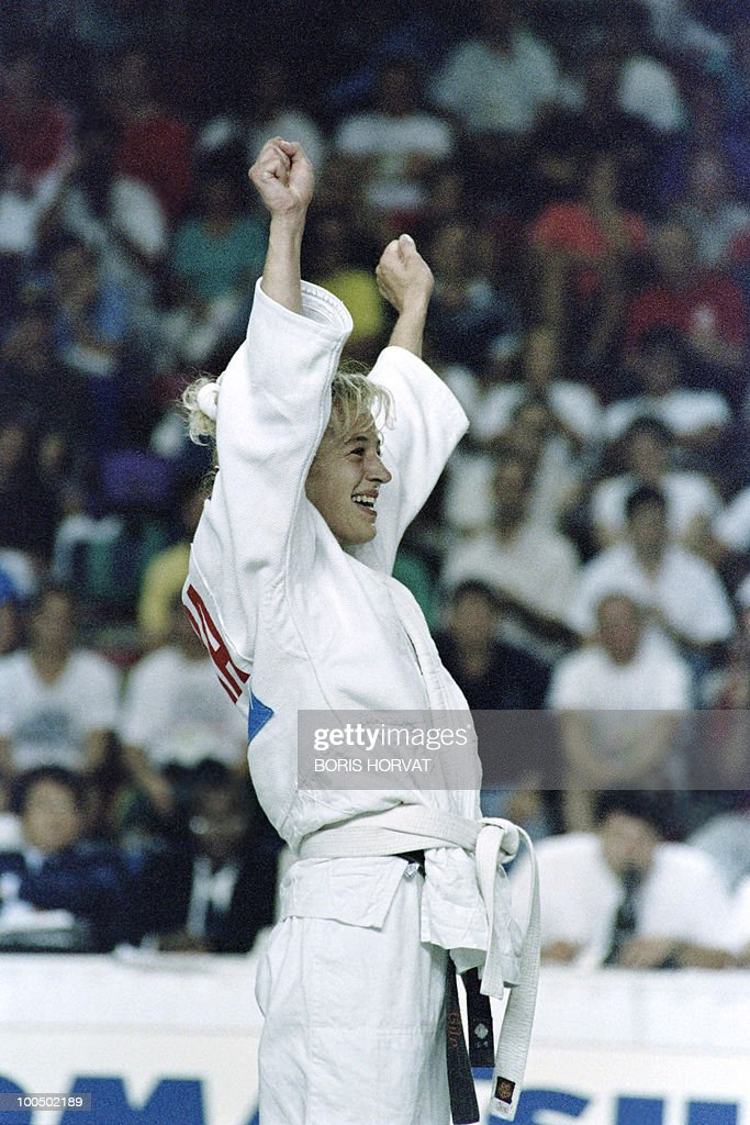 French Cecile Nowak reacts after she won against British Karen Briggs (not on picture) during the World championships final in judo, on July 28, 1991, in Barcelona.