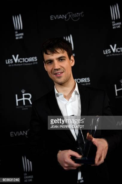 French cellist Victor JulienLaferrière poses after receiving an award at the 'Victoire de la musique classique' award ceremony at The Grange au Lac...