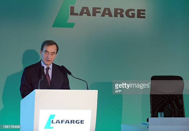 French cement giant Lafarge CEO Bruno Lafont talks during a press conference to present the group's 2011 results in Paris on February 17, 2012. AFP...