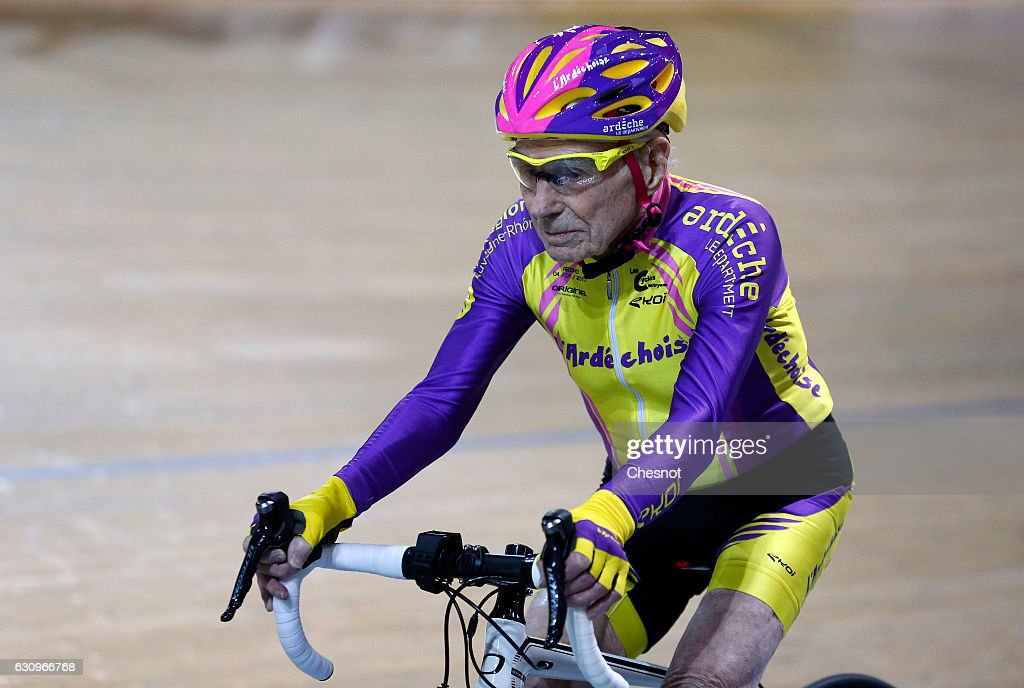 French Cyclist Robert Marchand, Aged 105 Rides His Bike In Order To Set A New In The Masters Category : News Photo